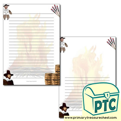 Bonfire Night Border/Writing Frame (narrow lines)