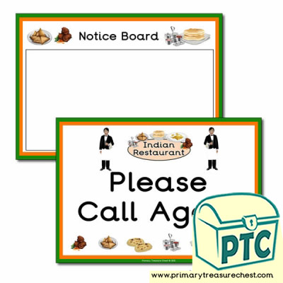 Indian Restaurant Role Play Notice Board / Call Again Signs