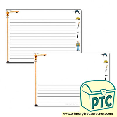 Construction Site Themed Landscape Page Border/Writing Frame (narrow lines)