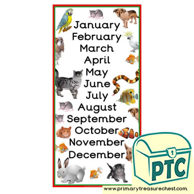 Pets Themed Months of the Year Poster
