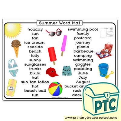 Summer Themed Word Mat