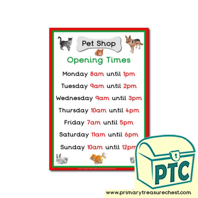 Pet Shop Role Play Opening Times Sign (O'clock times)