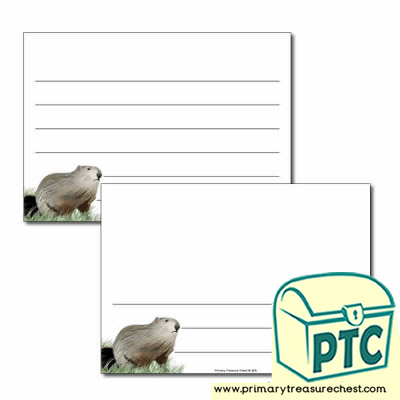 Groundhog Day Themed  Landscape Page Border/Writing Frame (wide lines)