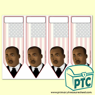 Four bookmarks on an A4 sheet, with a Martin Luther King Jr. theme.