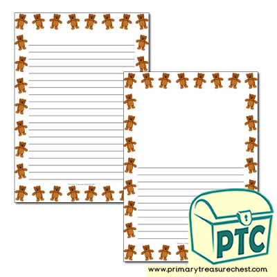 Teddy Bear themed Page Border/ Writing Frames (narrow lines)