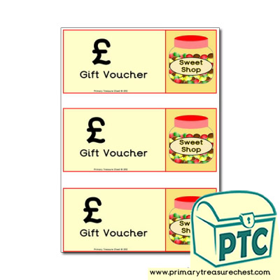 Sweet Shop Role Play Blank Shopping Vouchers