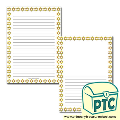 Star of David Themed Page Border / Writing Frame (narrow lines)