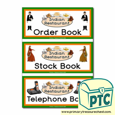 Indian Restaurant Role Play Book Covers / Labels