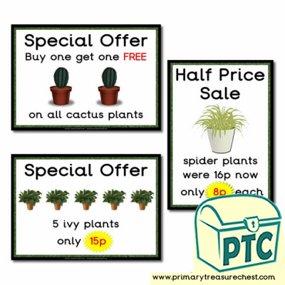 Role Play Garden Centre Plants Special Offers Posters (1-20p)