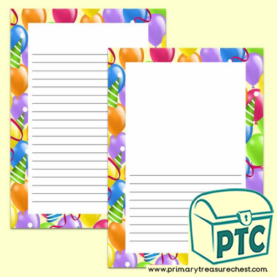 Balloon Themed Writing Frames (Narrow Lines)