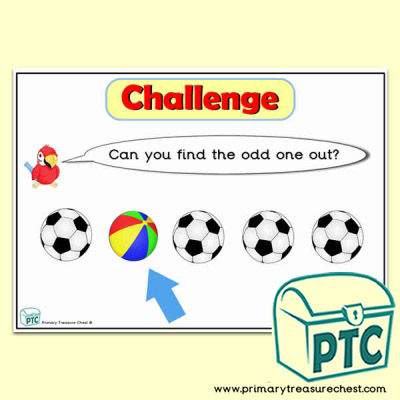 Balls themed Odd-One-Out Challenge A4 Poster