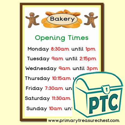 Bakery Shop Role Play Shop Opening Times (Quarter & Half Past)