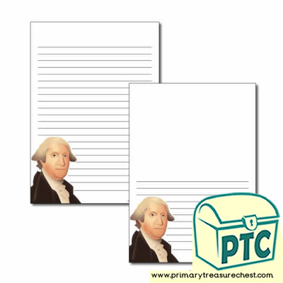 George Washington Themed Page Border/Writing Frame (narrow lines)