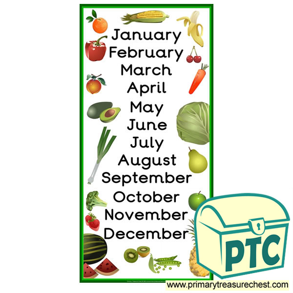 Fruit and Vegetable Themed Months of the Year Poster