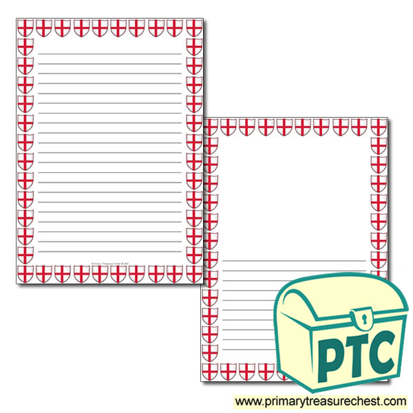Saint George's Flag Themed Page Border - Narrow Lined