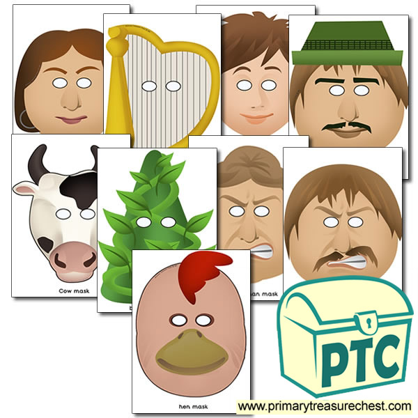 picture relating to Jack and the Beanstalk Printable known as Jack and the Beanstalk Masks - Pleased Students Supplies