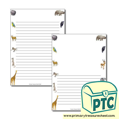 African Animals Themed Page Border/Writing Frame (narrow lines)