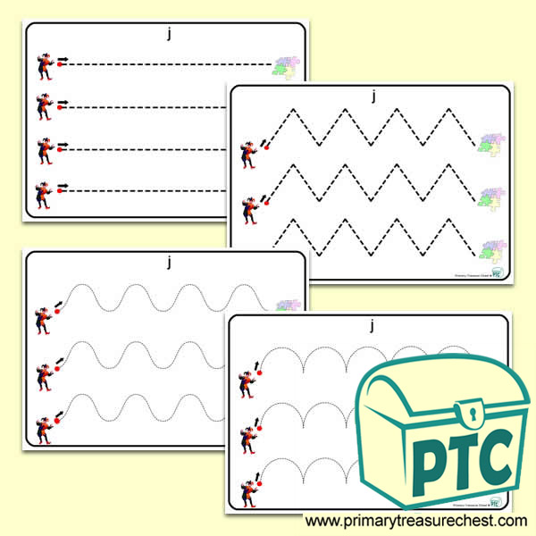 'Jj' Themed Pre-Writing Patterns Activity Sheets