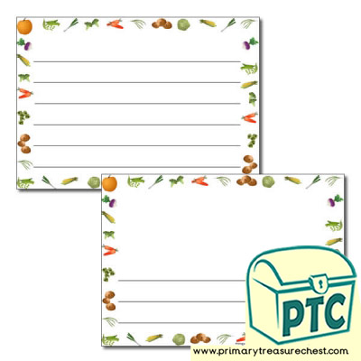 Vegetable Themed Landscape Page Borders/Writing Frames (wide lines)