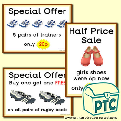 Role Play Shoe Shop Special Offers (1-20p)