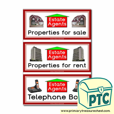 Estate Agents Role Play Book Covers / Labels
