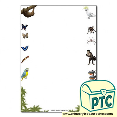Rainforest II themed Page Border/ Writing Frames (no lines)