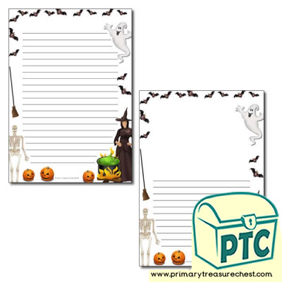 Halloween Page Border /Writing Frame (narrow lines)