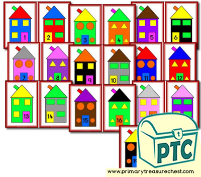Numbered Houses Number Line 1 to 20