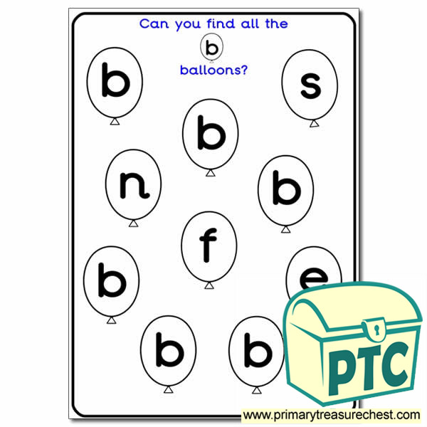 letter 39 b 39 balloon activity sheet phonics resources happy learners resources. Black Bedroom Furniture Sets. Home Design Ideas