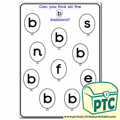 Letter 'b' Balloon Activity Sheet