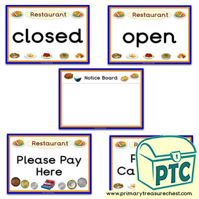 Restaurant Role Play Signs