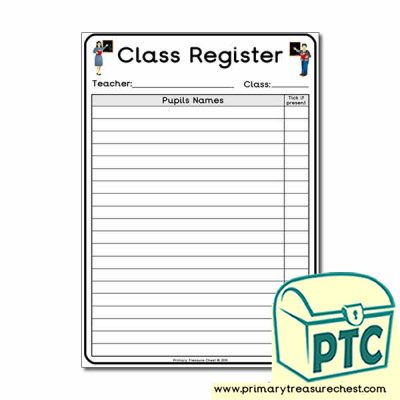 School Role Play Classroom Register Worksheet