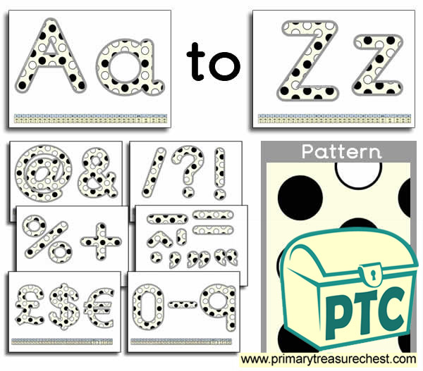 Black and white polka dot Display Lettering