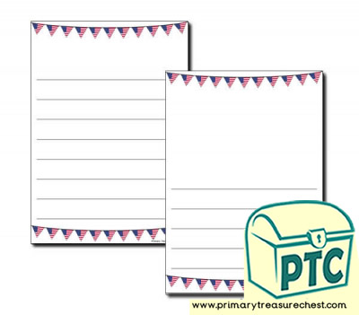 American Flag Bunting Page Border/Writing Frame (wide lines)