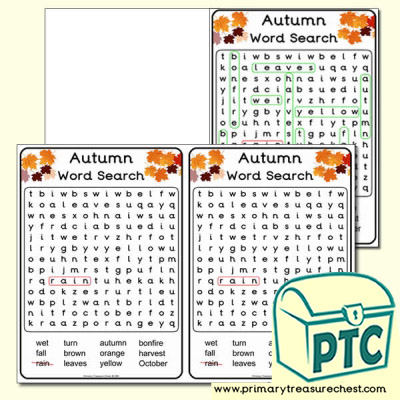 A5 Autumn Word Search (Easy)