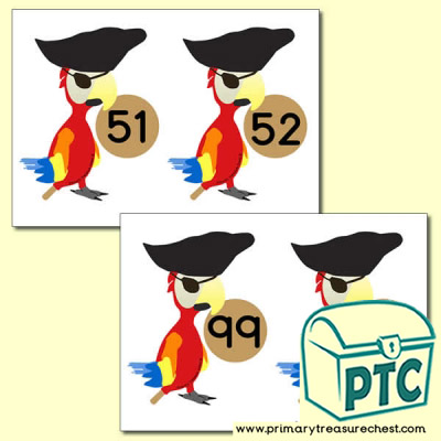 Pirate Parrot Number Line 51-100 (no border)