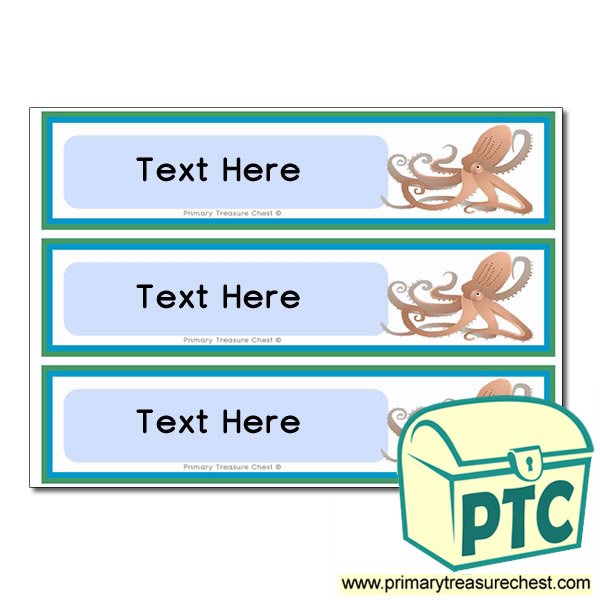 Sea Life Octopus Themed Pupil Drawer Labels (Large)