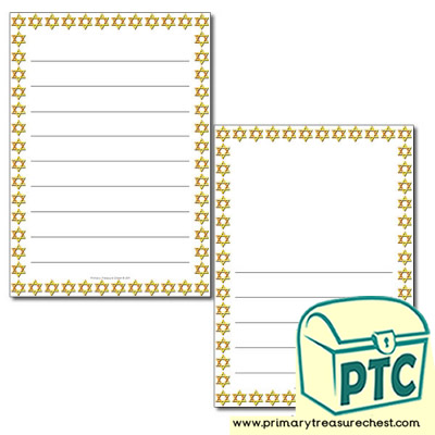 Star of David Themed Page Border / Writing Frame (wide lines)