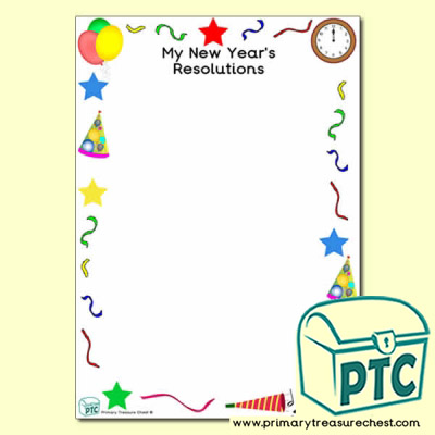 'My New Year's Resolutions' Writing Frame with Images (No Lines)