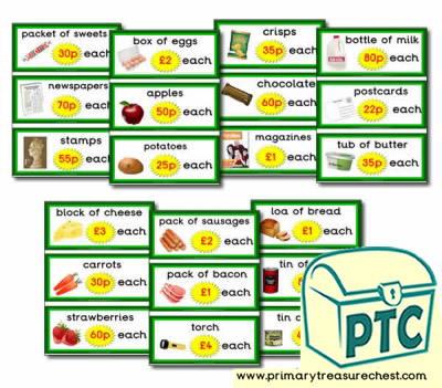 Role Play Campsite Shop Prices Flashcards (21p-£99)