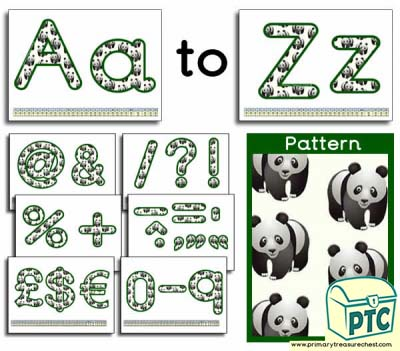 Panda themed Display Lettering