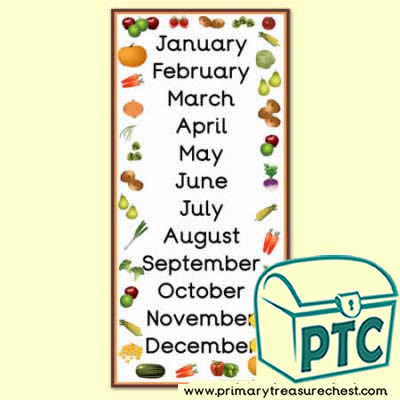 Fruit & Vegetable Months of the Year Poster