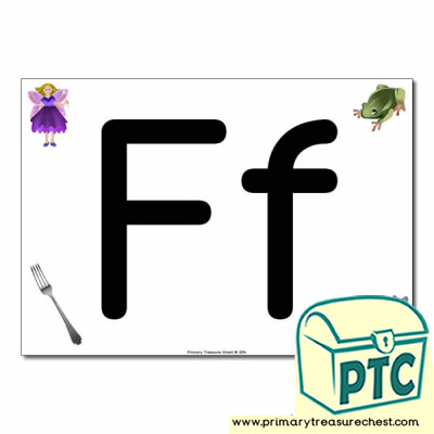 'Ff' Upper and Lowercase Letters A4 posterposter with realistic images
