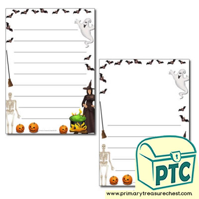 Halloween Page Border /Writing Frame (wide lines)