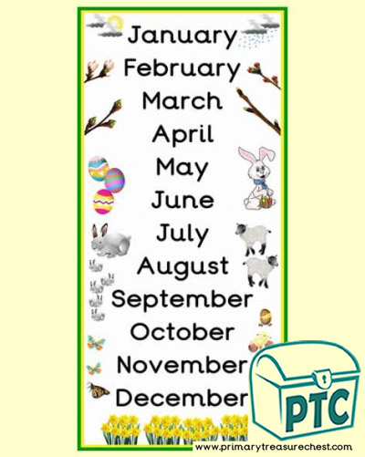 Spring Themed Months of the Year Poster