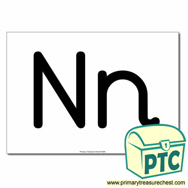 'Nn' Upper and Lowercase Letters A4 poster (No Images)