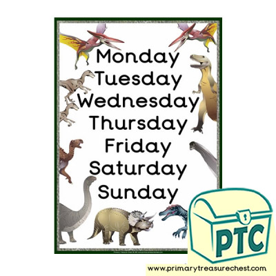 Days of the Week Dinosaur Poster
