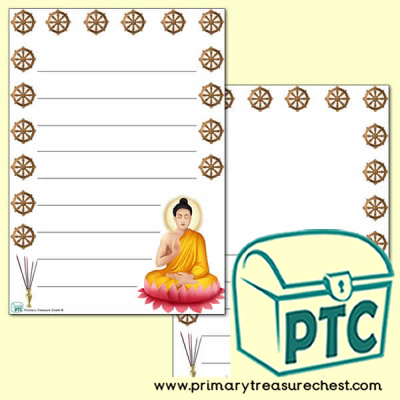Buddhism Page Border/Writing Frame (wide lines)