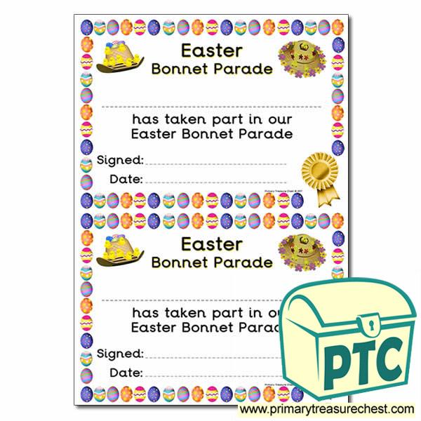 easter bonnet certificate parade a5 enlarge