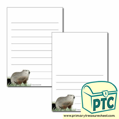 Groundhog Day Themed  Page Border/Writing Frame (wide lines)